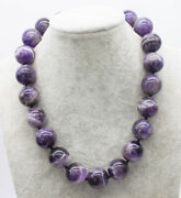Amethyst Round 20mm Necklace 17.5 Nature Wholesale Beads Big Size