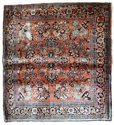Handmade Antique Oriental Rug 3.2and039 X 3.3and039 97cm X 100cm 1920s - 1b744