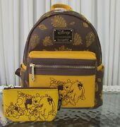 Disney Loungefly Winnie The Pooh Mini Backpack And Id Coin Purse Wallet Autumn Nwt