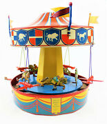 Vintage Wolverine No. 31 Merry-go-round Musical Carousel Tin Wind Up Litho Toy