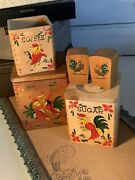 Vintage Nesting Rooster Wood Canisters Set Of 3 With Salt Pepper Shakers Mcm