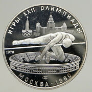 1978 Moscow 1980 Russia Olympics High Jump Vintage Proof Silver 5 Ru Coin I93721
