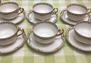 Haivland Limoges Clover Pattern 98 Schleiger Six Antique China Cups And Saucers