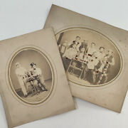 Antique Cabinet Card Photograph Lot Men Drinking Beer Smoking Party Hats Bar