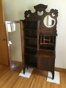 Antique Drop Front Secretary Desk With Mirror And Adjustable Shelves