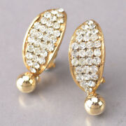 Vintage Rhinestone Earrings Gold Crystal Clip Specification Very Rare