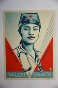 Obey Valor And Grace Shepard Fairey Art Print Poster Nurse Pandemic Limited Ed.