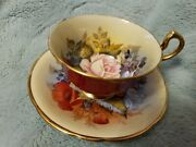 Spectacular Aynsley Cabbage Rose Teacup/saucer Signed J A Bailey-burgundy Red--