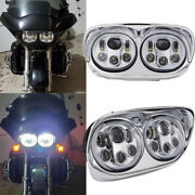 For Harley Road Glide 2004-2013 Motorcycle Led Dual Headlight Drl W/ Angel Eyes