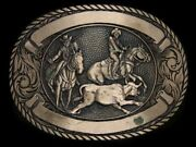 Th07130 Vintage 1980s Bulldogging Rodeo Western And Cowboy Solid Brass Buckle