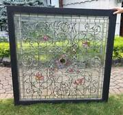 Antique Stained Leaded Jeweled Glass Window / Waterbury Ct. Bank