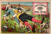 1880's Victorian Trade Card Ad, J And P Coats Spool Cotton, Gulliver's Travels
