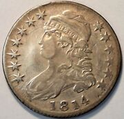 Multiple Die Clashes 1814 Capped Bust Silver Half Dollar Vf Details O-108a A142