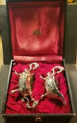 Vintage 1950and039s Corbell And Co Gravy Dish Set. Eagle Faces. Case Included.