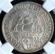 Weimar Republic 3 Mark 1927-a Ngc Ms64 And039bremerhavenand039 - Sailing Ship