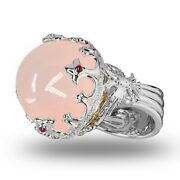 Russian Queen 18k White Gold With 0.46ct Diamonds And 63.20ct Rose Quartz