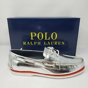 Polo Merton Silver Metallic Leather Boat Shoes Menand039s Us Size 10 D