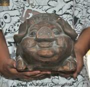 11.2'' Chinese Yixing Zisha Pottery Wealth Lucky 招財进宝 Text Pig Piggy Bank