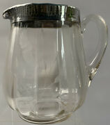Vintage Etched Glass Pitcher With Sterling Silver Overlay Rim, Marked Sterling