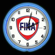 19 Fina Gas Oil Station Sign Blue Double Neon Clock