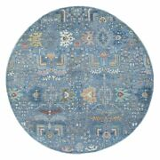 9and0391x9and0391 Denim Blue Fine Peshawar Extra Soft Wool Hand Knotted Round Rug G68820
