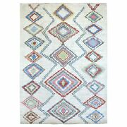 8and0398x11and03910 Ivory Moroccan Berber Soft Organic Wool Hand Knotted Rug G68674
