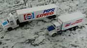 2x Winross Pepsi Express Tractor Trailer Semi And Straight Truck 1/64 Scale