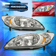 For 04-05 Honda Civic 2/4dr Replacement Headlights Lamps Left+right Chrome Amber