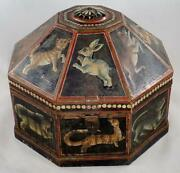 Antique 19th C. Indian Mughal Wood Turban Marriage Box Animals Cats Tiger Rabbit