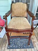 Antique Shaving Chair Barber Upholstered Fabric Leather Nailhead Handmade 40