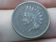 1859 Copper Nickel Indian Head Cent Penny- Vf Details