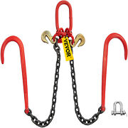 Vevor G80 V Tow Chain 3/8 X 2and039 Legs Two 15 J-hook And Grab Hook 11023lbs Load