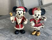 Pair Of Vintage Mickey And Minnie Mouse Poliwogg Christmas Santa Disney Figurines