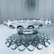 Used Old Baccarat Diaman Curry Compote Cake Stand Plate Diamond Cut Rare