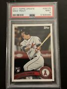 2011 Topps Update Baseball Mike Trout Rookie Card Angels Us175 Psa 9 Mint