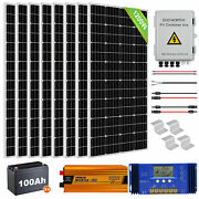 1200w Off Grid Solar Panel Kit With 100ah Deep Agm Battery 12v For Home Garden