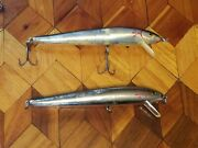 Vintage Cotton Cordell Red Fin Fishing Lures 7 Muskie Pike Walleye Lot Of 2
