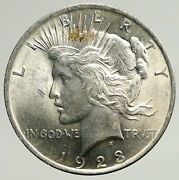 1923p Us Antique Silver Peace Dollar United States Coin W Liberty And Eagle I93648