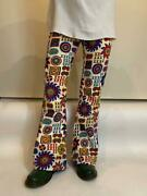 Vintage 1960and039s 1970and039s Flare Pants Total Pattern Bell Bottom Scovill W76cm Rare