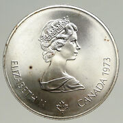 1973 Canada Queen Elizabeth Ii Olympics Montreal World Map Silver 5 Coin I93611