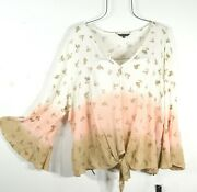 New Womenand039s Summer Ivory Beige Paisley Button Tie Waist Boho Top Blouse 3x Nwt