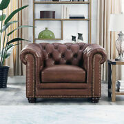 New Chesterfield Lounge Chair Top Grain Walnut Brown Leather English Rh Style