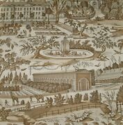 Brunschwig And Fils French Country Villages Toile Fabric 10 Yards Brown Cream