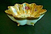 Vintage Nippon Hand Painted Fluted Fancy Rose Bowl Footed Gold Pink Floral Japan