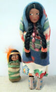 1930s Skookum Dolls 9 Mother And 3.75 Baby On Papoose Board Ethnic Folk Dolls