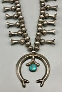Spectacular Vintage Sterling Silver And Turquoise Squash Blossom Necklace