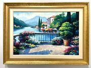 20th Century Original Oil Painting On Canvas - Garden At Orta By John Zaccheo