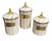Mackenzie Childs Bathing Hut Pink White Stripe Canister Set Lids Discontinued