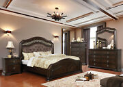 Espresso Traditional Chenille Hb Cal King Bed Dresser Mirror Nightstand 4p Set