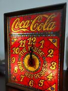Vintage Coca Cola Coke Ad Logo Faux Stained Glass Centennial Light Up Clock